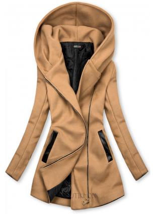 Barna színű kabát műbőr elemekkel