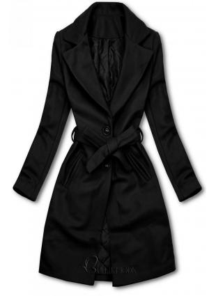 Fekete színű kabát megkötővel