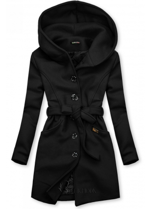 Fekete színű kabát kapucnival