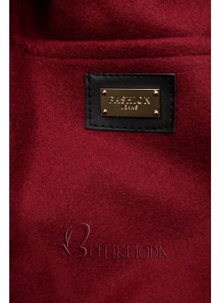 Bordó színű kabát kapucnival