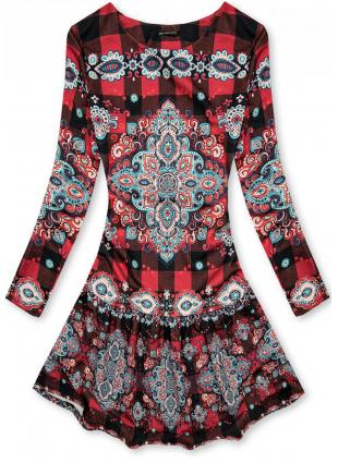 Piros színű kockás ruha nyomott mintával