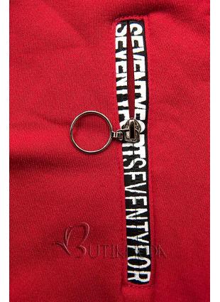 Melegítő szett emelt gallérral - piros és fekete színű