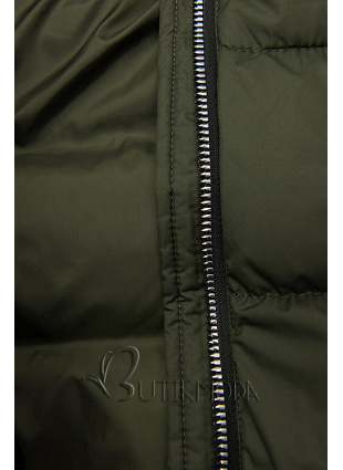 Khaki színű téli kabát cipzárral