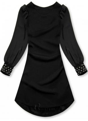 Fekete színű elegáns A-vonalú ruha