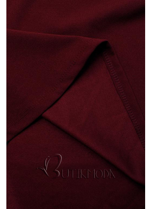 Bordó színű elegáns A-vonalú ruha