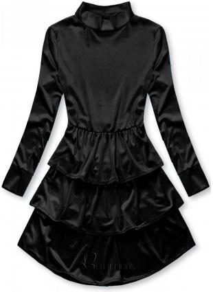 Fekete színű bársony ruha fodrokkal