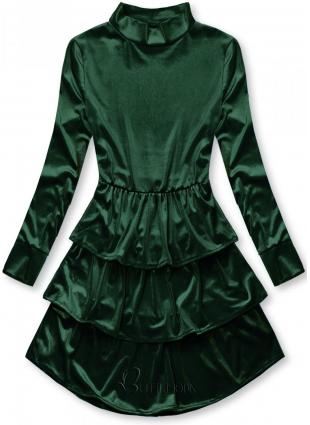 Zöld színű bársony ruha fodrokkal