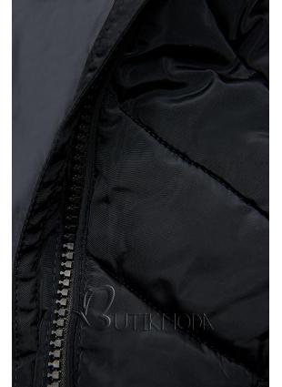 Sötétkék színű steppelt hosszú kabát