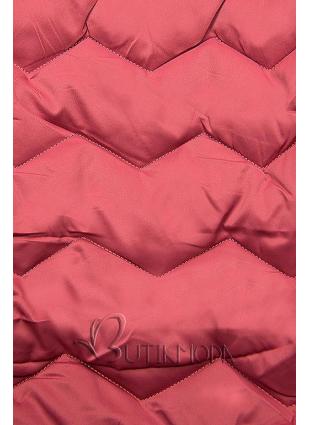 Vintage-rózsaszínű steppelt kabát az őszi/téli időszakra