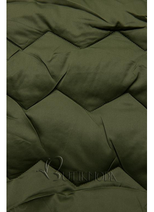Khaki színű steppelt kabát az őszi/téli időszakra