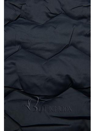 Sötétkék színű steppelt kabát az őszi/téli időszakra