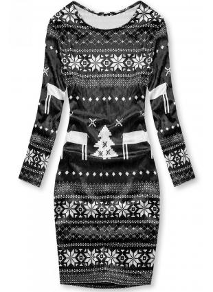 Fekete színű bársony ruha téli motívummal