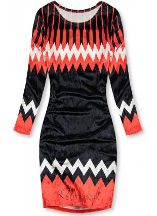 Piros és kék színű bársony ruha