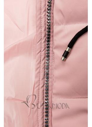 Rózsaszínű steppelt kabát kapucnival