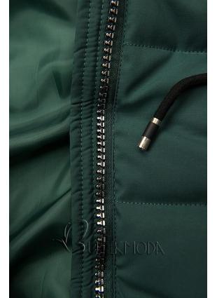 Zöld színű steppelt kabát kapucnival