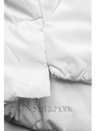 Fehér színű téli kabát pompommal