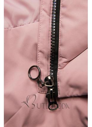 Rózsaszínű téli kabát műszőrmével