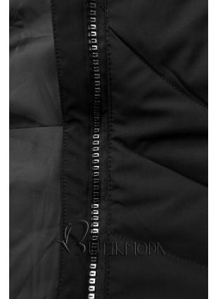Fekete színű téli kabát műszőrmével