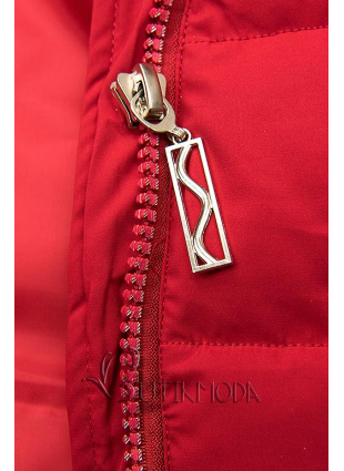 Steppelt téli kabát - piros színű