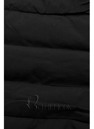 Steppelt téli kabát - fekete színű