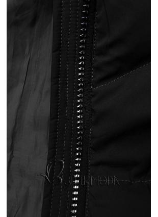 Fekete színű téli kabát fekete színű elemekkel