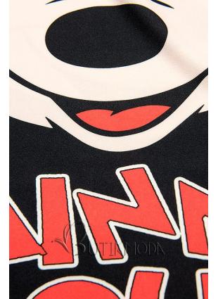 Fekete színű Plus Size csíkos tunika nyomott mintával