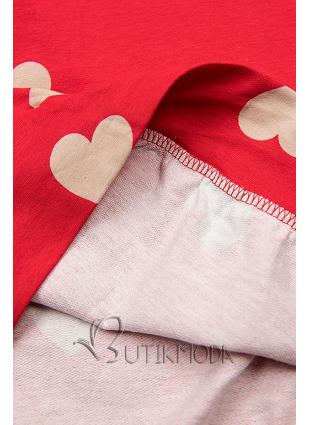 Piros színű szabadidőruha szívecskékkel