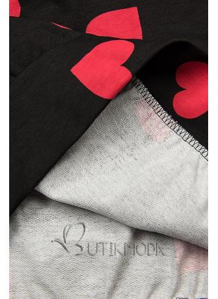 Fekete színű szabadidőruha szívecskékkel