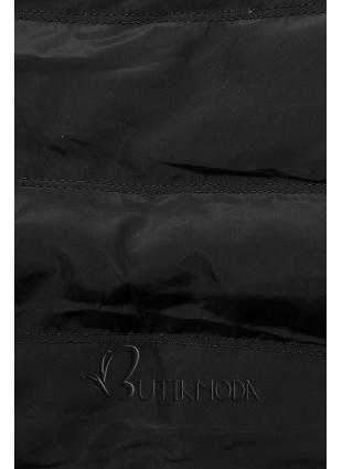 Fekete színű melegítő szett kombinált anyagokból