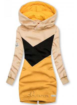Bebújós fazonú felső - bézs, fekete és sárga színű