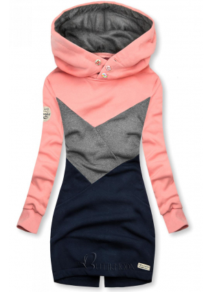 Bebújós fazonú felső - kék, szürke és rózsaszínű