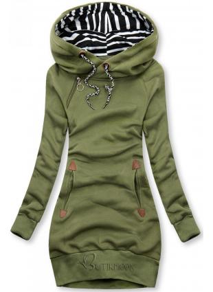 Khaki zöld színű, hosszú felső kapucnival