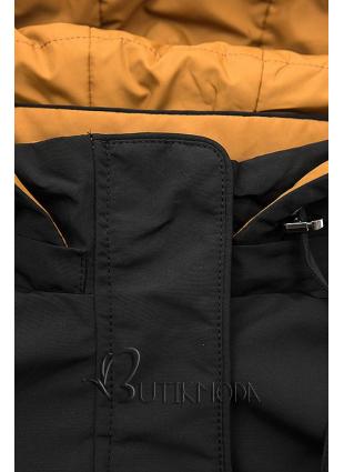 Kifordítható kapucnis parka - fekete/mustársárga színű