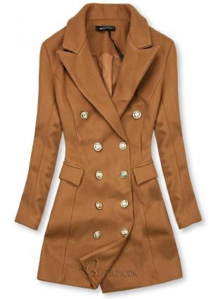 Barna színű tavaszi kabát egygombos záródással női ruházat