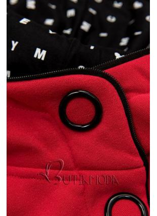 Piros színű melegítő szett mintás kapucnival