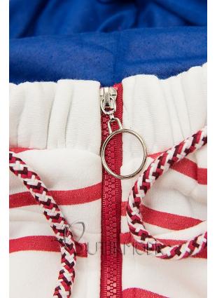 Fehér és piros színű csíkos szabadidőfelső