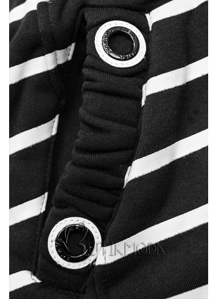 Fekete színű csíkos szabadidőfelső