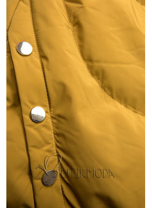 Sárga színű téli kabát ezüstszürke színű szegéllyel