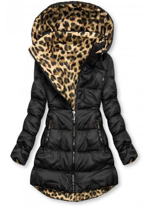 Fekete színű/leopárdmintás kifordítható kabát
