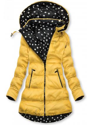 Sárga színű/pöttyös kifordítható kabát