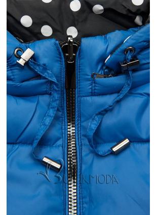 Kobaltkék színű/pöttyös kifordítható kabát