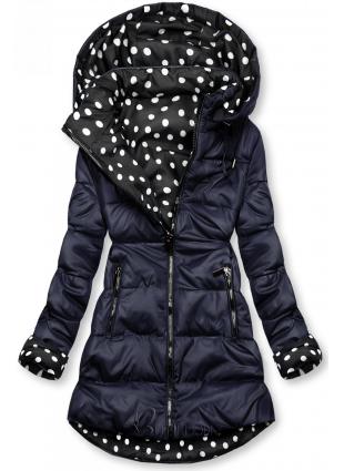 Sötétkék színű/pöttyös kifordítható kabát
