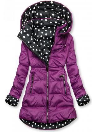 Lila színű/pöttyös kifordítható kabát