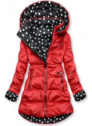 Piros színű/pöttyös kifordítható kabát