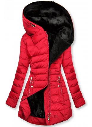 Piros színű steppelt kabát fekete plüss béléssel