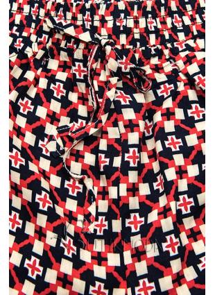 Kék és piros színű sort nyomott mintával