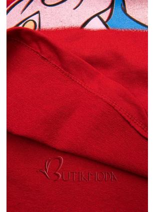 Piros színű póló Paperina e Paperino
