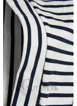 Fehér és kék színű csíkos ruha rátéttel PLUS SIZE III.