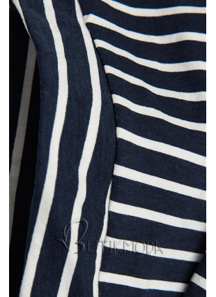 Kék és fehér színű csíkos ruha rátéttel PLUS SIZE III.