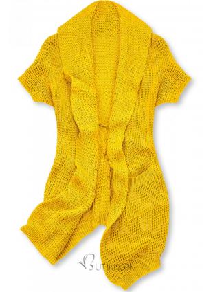Sárga színű, aszimmetrikus kötött kardigán
